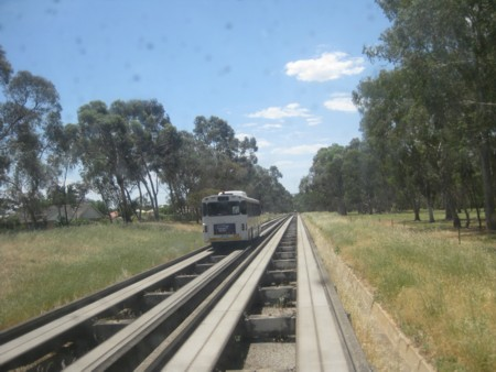 Adelaide's O-Bahn viewed from the Back Window