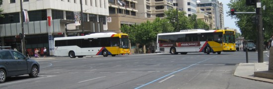 Buses Turning into North Terrace - Step Two