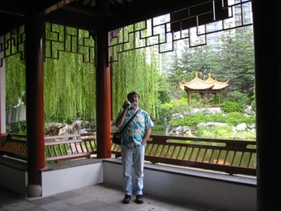 Chinese Garden David video'ing me photographing him