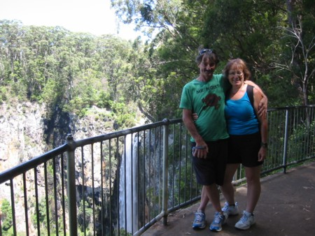 David & May at Springbrook National Park with Purlingbrook Falls in the background