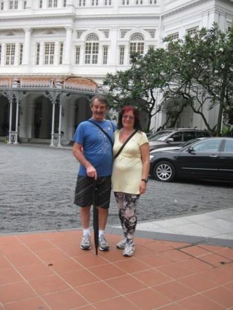 David and May outside Raffles Hotel