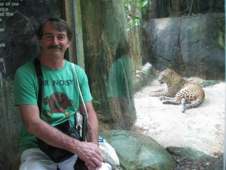 David and the Leopard at Singapore Zoo