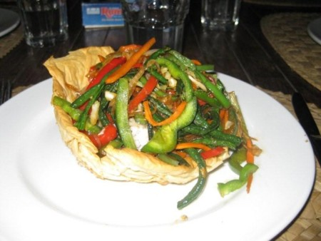 Fresh Vegetables in a Filo Boat