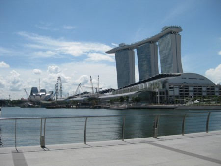 Marina Bay Sands - as we approached it with the Singapore Flyer to the left