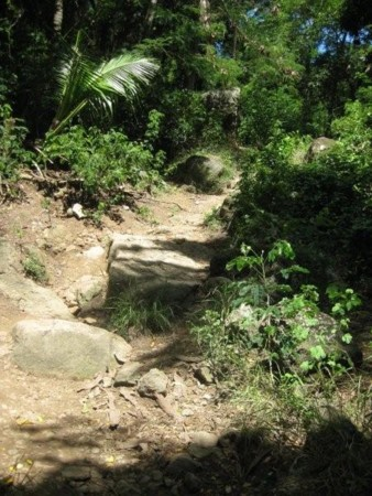 Pathway over or around Huge Boulders