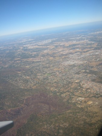 Perth from the air with the Indian Ocean beyond