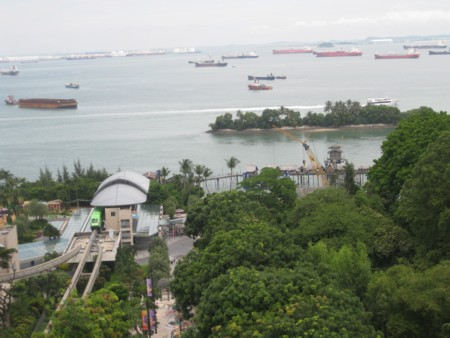 Sentosa Island Monorail Station with Ships Beyond