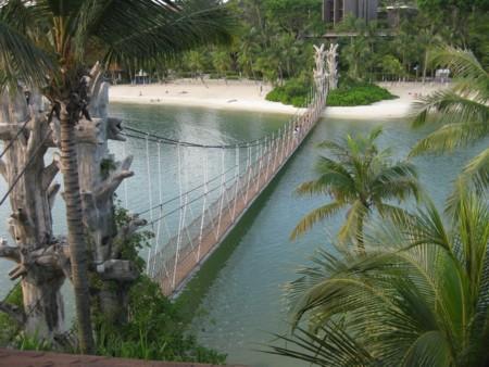 Suspension Bridge from the Island